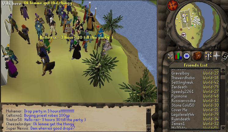 Screen capture of people gathering hours before a party